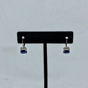 4 Carat Round Cut Sapphire Lever Back Earrings